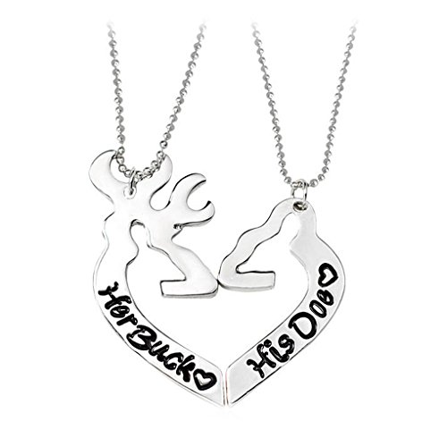Birthday Gift Her Buck And His Does Deer Necklace Set For Couples Valentine's Day Gift(2 pieces) (His Her Doe)