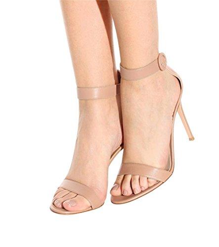 Mujeres Strappy Estilete Alto Tacón Sandalias Tobillo Correa Mirar furtivamente Dedo del pie Zapatos Negro rojo Grande tamaño 35-45 apricot