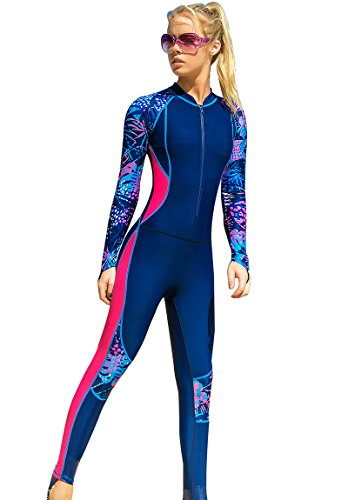52a1017b60 Akaeys Women's Full Body Swimsuit Rash Guard One Piece Long Sleeve Long Leg  Swimwear with UV Sun Protection