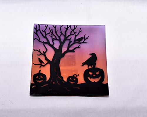 Yankee Candle New All Hallows Eve Pumpkin, Crows, Spooky Tree Halloween Decorative Square Plate Candle Holder ()