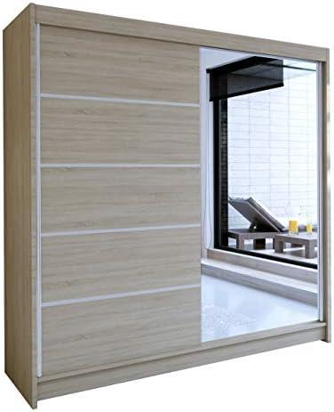 Mirjan24 Talin III - Armario de Puertas correderas con Espejo (rieles de Aluminio, con Barra para Colgar Ropa, balda para Dormitorio, vestíbulo y Pasillo): Amazon.es: Juguetes y juegos