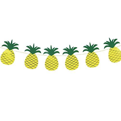 SUNBEAUTY 2m Paper Pineapple Banner Luau Tiki Party Supplies Hawaiian Theme Decoration
