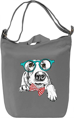 Dog With Glasses Borsa Giornaliera Canvas Canvas Day Bag| 100% Premium Cotton Canvas| DTG Printing|
