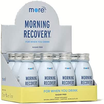 Morning Recovery: Patent-Pending Hangover Prevention Drink (Pack of 12) - New & Improved Sugar Free Lemon Flavor - Highly Bioavailable Liquid DHM, Milk Thistle, Electrolytes - No Artificial Flavors