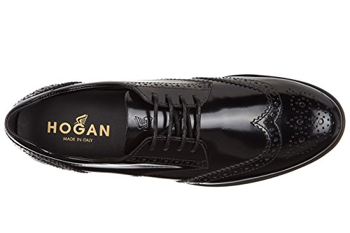 Hogan scarpe stringate classiche donna in pelle nuove derby route h308 nero
