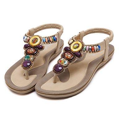 FSCHOOLY Womens Shoes Polipiel Primavera Verano Comodidad Novedad Botas Moda Sandalias De Tacón De Cristal Para Boda Almendra Casual Rosa Azul Negro Almond