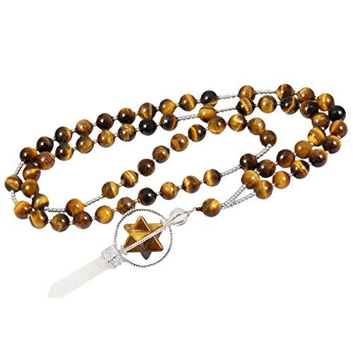 TUMBEELLUWA Healing Stone Necklace Crystal Beads Bracelet Wrap Charm Prayer Chakra Handmade Jewelry for Women,Merkaba,Tiger's Eye - Geometric Eye Necklace Tigers