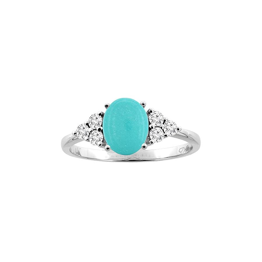 14K Gold Natural Turquoise Ring Oval 8x6 mm Diamond Accents, sizes 5 10