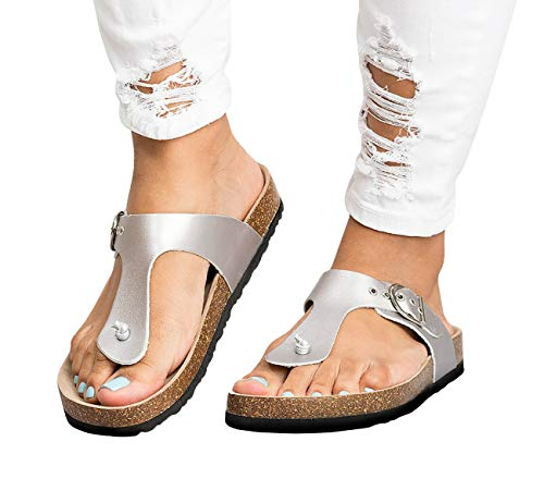 Womens Thong Sandals T Strap Slip-On Buckle Flip-Flop Beach Cork Flat Sandals