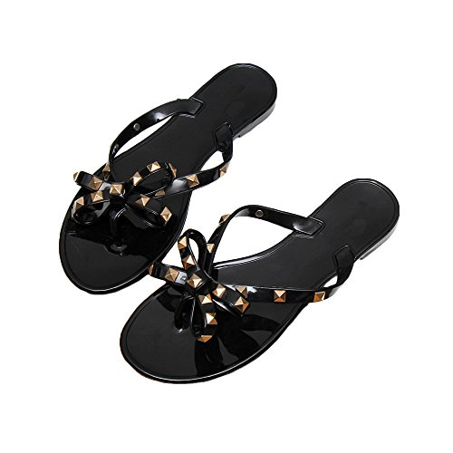 Womens Rivets Bowtie Flip Flops Jelly Thong Sandal Rubber Flat Summer Beach Rain Shoes