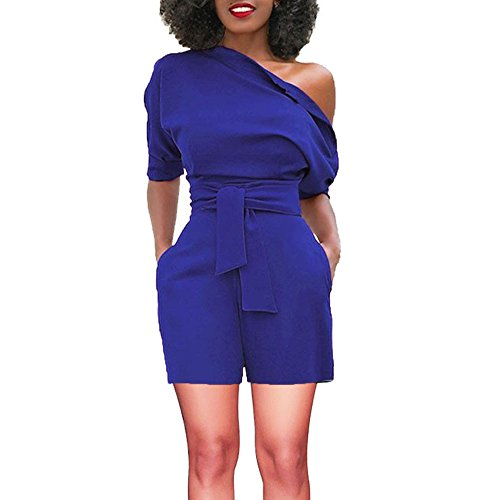 TOTOD Rompers for Women, Summer Sexy Off Shoulder Ruffle Shorts Fashion Short Sleeve Jumpsuits with Pockets(Blue,2XL) ()