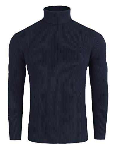 FISOUL Mens Casual Basic Ribbed Slim Fit Knitted Pullover Turtleneck Thermal Sweater