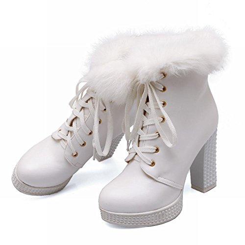Carolbar Damesmode Faux Fur Decoraties Cosplay Lace Up Winter Platform Hoge Dikke Hak Sneeuw Enkel Jurk Laarzen Wit