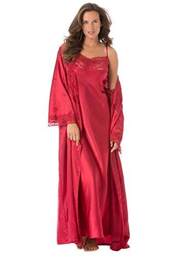 Amoureuse Women's Plus Size Long Satin Peignoir Set Classic Red,1X