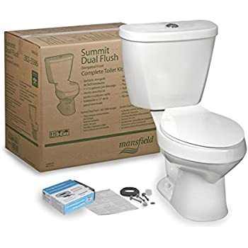 mansfield plumbing 4382ctk summit ctk elongated dual flush complete toilet kit white