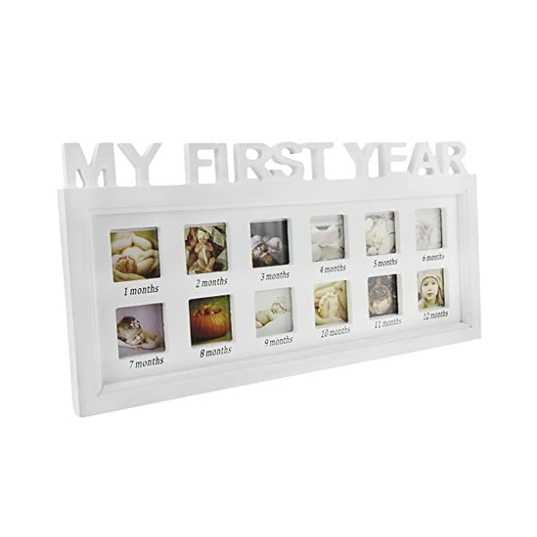 Picture Frames,Baby My First Year Photos Frame Photo Moments Keepsake Picture Frame Girls Boys Multi Photo Impression Kit Newborn Baby Infant Shower Frame Birthday Xmas Memories Christening Gifts