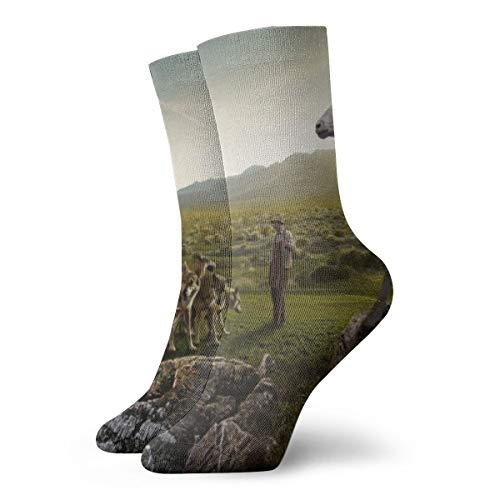 Unisex High Ankle Cushion Crew Socks Sheep Attacking The Wolves Casual Sport Socks