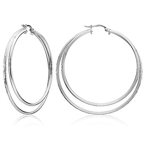 Sterling Silver Double Circle Square-Tube Diamond Cut 45mm Round Hoop Earrings