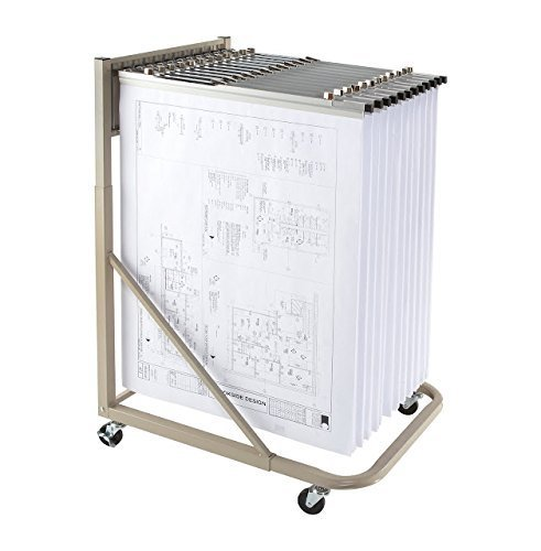 Brookside Design MRWH heavy duty mobile blueprint storage rack with 12 pivot hangers