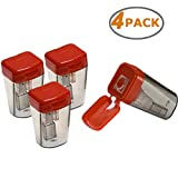 Wekoil Dual Metal Blade Sharpener Manual Colored Pencil Sharpener with Waste Container Catching Shavings Sharpening Regular Pencils Graphic Pencil For Kids Teachers School/Home/Office,Pack of 4, Red