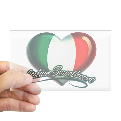 (Sticker Clear (Rectangle) Large Italian Sweetheart Italy Flag)