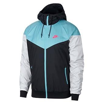low priced 384c0 f5f82 Nike Men s Sportswear Windrunner Jacket Aqua White Black (Small)