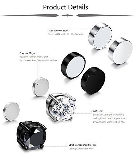 ba43c1539 ... JOERICA 4 Pairs Stainless Steel Magnetic Stud Earrings for Men Women  Non Piercing Clip on CZ ...