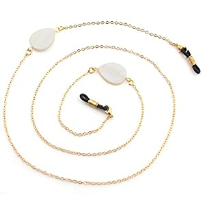 CROISSANT Fashion Glasses Chain Glasses Sunglasses Chain Glasses Retainer Strap,Secure Fit For Your Glasses And Eyewear【Exquisite Gift Packaging】 (Shell water droplets-Gold)
