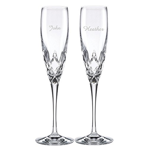 Custom Lenox Venetian Lace Signature Champagne Flute Pair, Set of 2 Flutes, Personalized Venetian Lace Toasting Flutes, Personalized Wedding Flutes, Monogrammed Flutes, Crystal Champagne Flutes by The Crystal Shoppe (Image #1)
