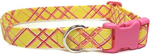 Pink Lemonade Collar with Pink Buckle, Handmade Designer Cotton Dog Collar, Adjustable Fabric Collars (M – 3/4)