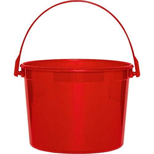 Plastic Bucket | Apple Red | Party Accessory | 12 Ct. ()