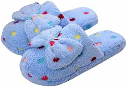 ebdf1c542 Qingfan Sandals Slippers, Women's Non-Slip Soft Flip Flop Elegant Bow Faux  Fur Slide