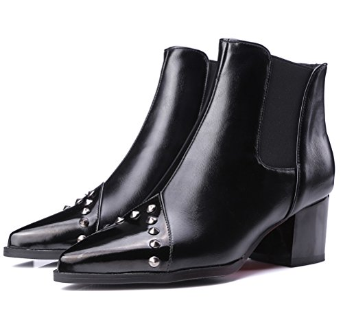 Rivets Black Boots Winter Block Bootie Mid Chelsea On Biker Stylish Boots Fashion Pointed Heels HiTime Womens Toe Slip xCapE