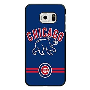 Samsung Galaxy S6 Edge Case Glitter MLB Chicago Cubs Baseball Team Logo Sports Design Hard Custom New Protective Rugged Protection Accessories Case Cover for Men