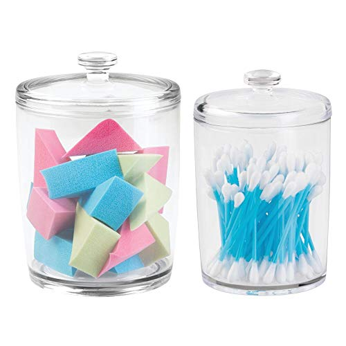 mDesign Bathrooom Vanity Canister Jars for Cotton Balls, Swabs, Cosmetic Pads - image