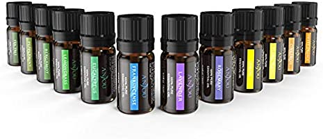 Anjou Essential Oils Set (12Pcs Oils, 100 Percent Pure Lavender, Sweet Orange, Tea Tree, Eucalyptus, Lemongrass,...