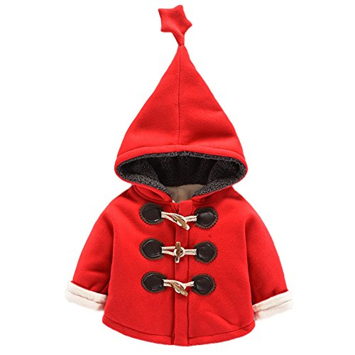 Evey & Jaxten Unisex Baby Elfin Star Tipped Hooded Fleece Jacket Outerwear Thick Warm Autumn Winter (Red, 6-12M 73CM) -