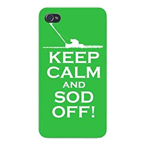 Apple Iphone Custom Case 5c White Plastic Snap on - Keep Calm and Sod Off! Lawn Mower Green/White