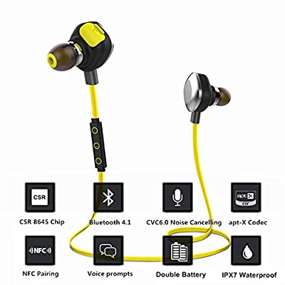 aelec® Waterproof V 4.1 Bluetooth Headphone Wireless Sport Earphone In Ear Headset Noise Cancelling NFC HiFi Handsfree Earbud With Mic For Iphone Ipad Android Gym Exercise Cycling Swimming Driving