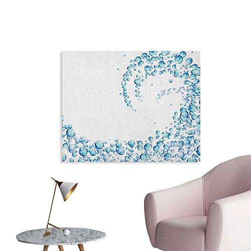 Anzhutwelve Blue Wallpaper Water Droplets Bubbles of Air Aquatic Fresh Simple Pattern Splashes Waves Ocean Funny Poster Blue Aqua White W36 xL32