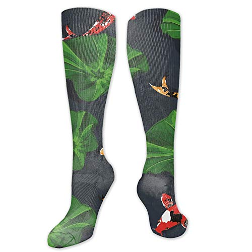 (Compression Socks for Women and Men Koi Fish Pond Compression Stockings for Crossfit)