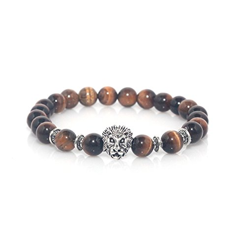 ead Charm Natural Marble Stone Elastic Bracelet (Tiger Eye Silver) (Gold Plated Tiger Charms)