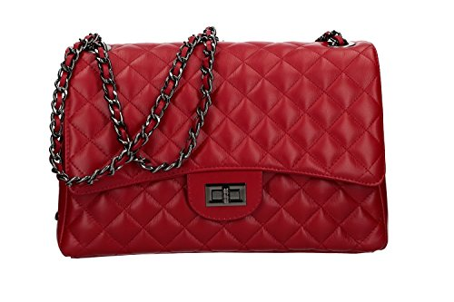 Bolsa mujer hombro PIERRE CARDIN rojo en cuero MADE IN ITALY VN1518