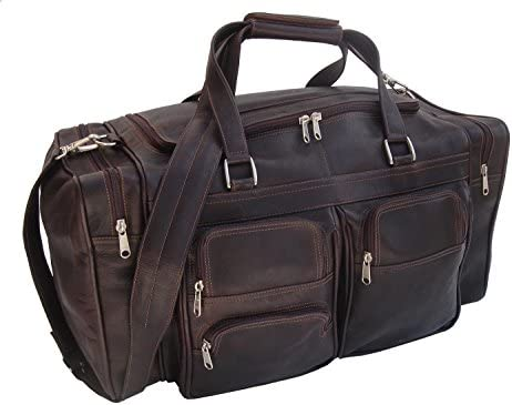 ca7057ff4f Piel Leather 20 quot  Duffel Bag with Pockets in Saddle. Loading Images.