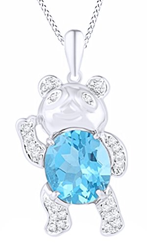 Jewel Zone US Oval Shape Simulated Blue Topaz & Natural Diamond Accent Teddy Bear Pendant Necklace in Sterling Silver