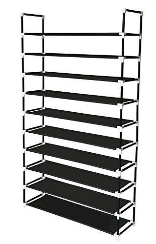 Sodynee 50 Pairs 10-Tier Shoe Rack Shoe Organizer Shoe Storage Shoe Shelves Cabinet Stackable - Easy to Assemble - No Tools Required, Black