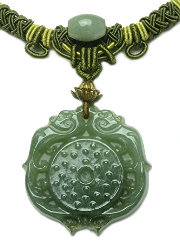 mperial Twin Dragon Grade A Green Jade Amulet Necklace-Fortune Feng Shui Jade Jewelry (Imperial Jade Jewelry)
