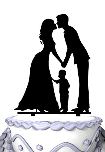 Meijiafei Bride and Groom with Little Boy -Happy Family Cake Topper Anniversary Day Cake Topper