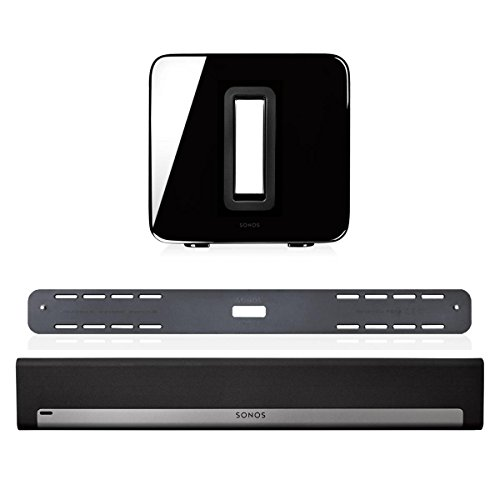 Sonos 3.1 Home Theater System Bundle – PLAYBAR, Wall Mount Kit for PLAYBAR & Wireless SUB (Black)
