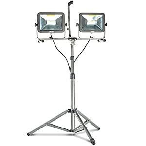 VonHaus Dual Head 100W LED Work Light with Adjustable Extra Strong Telescopic Tripod Stand, Rotating Waterproof Lamps and 8.2Ft Power Cord for Indoor and Outdoor Use